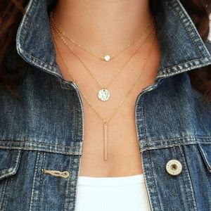 4/$30 Layered Crystal, Coin, & Bar Necklace